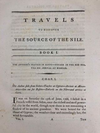 Travels to Discover the Source of the Nile, in the Years 1768, 1769, 1770, 1771, 1772, & 1773 (5 volumes, complete set)[newline]M1913-020.jpg