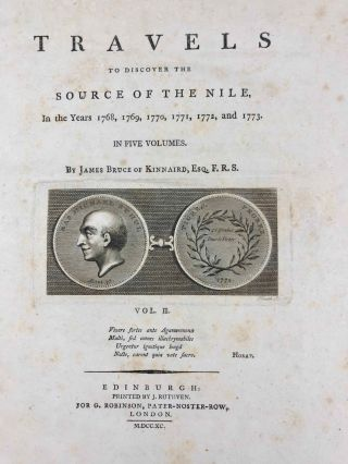 Travels to Discover the Source of the Nile, in the Years 1768, 1769, 1770, 1771, 1772, & 1773 (5 volumes, complete set)[newline]M1913-025.jpg