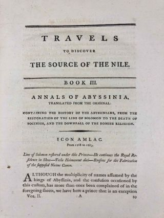Travels to Discover the Source of the Nile, in the Years 1768, 1769, 1770, 1771, 1772, & 1773 (5 volumes, complete set)[newline]M1913-034.jpg