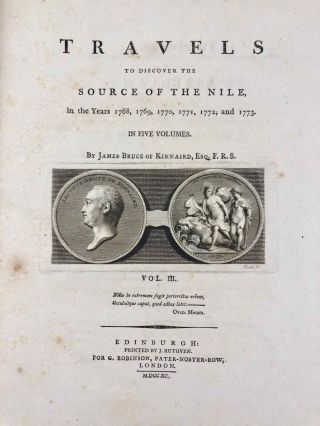 Travels to Discover the Source of the Nile, in the Years 1768, 1769, 1770, 1771, 1772, & 1773 (5 volumes, complete set)[newline]M1913-038.jpg