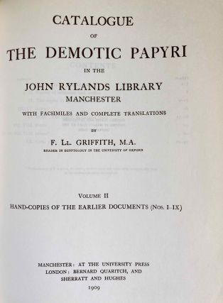 Catalogue of the demotic papyri in the John Rylands Library in Manchester. Vol. I: Atlas of Facsimiles. Vol. II: Hand-Copies of the ealier documents (Nos. I-IX). Vol. III: Key-list, translations, commentaries and indices (complete set)[newline]M2430-08.jpeg