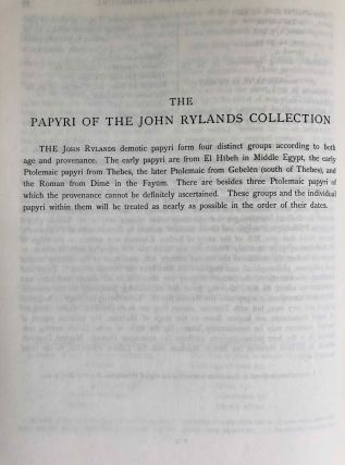 Catalogue of the demotic papyri in the John Rylands Library in Manchester. Vol. I: Atlas of Facsimiles. Vol. II: Hand-Copies of the ealier documents (Nos. I-IX). Vol. III: Key-list, translations, commentaries and indices (complete set)[newline]M2430-23.jpeg