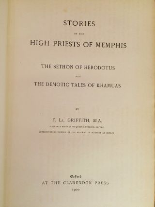 Stories of the High Priests of Memphis: The Sethon of Herodotus and The Demotic Tales of Khamuas.[newline]M2431a-03.jpg