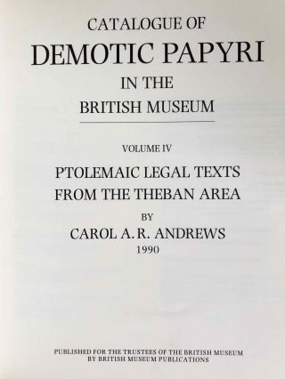 Catalogue of Demotic Papyri in the British Museum. Vol. IV: Ptolemaic Legal Texts from the Theban Area[newline]M2601a-01.jpg