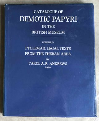 Catalogue of Demotic Papyri in the British Museum. Vol. IV: Ptolemaic Legal Texts from the Theban...[newline]M2601a.jpg