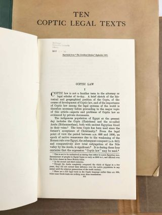 Ten Coptic Legal Texts. Edited with translation, commentary, and indexes together with an introduction.[newline]M2644c-03.jpg