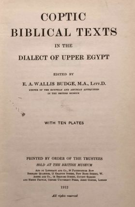 Coptic biblical texts in the dialect of Upper Egypt. Vol. 1.[newline]M2676a-03.jpg