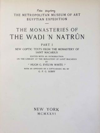 The monasteries of the Wadi 'n Natrun. Part I: New coptic texts from the monastery of Saint Macarius. Part II: The history of the monasteries of Nitria and of Scetis. Part III: The architecture and archaeology (complete set)[newline]M2747c-004.jpg