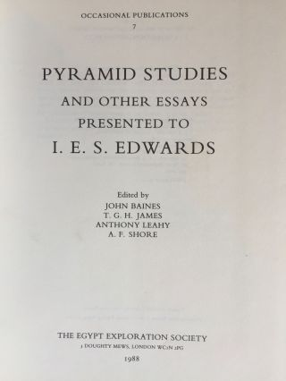 Festschrift Edwards. Pyramid Studies and Other Essays Presented to I. E. S. Edwards.[newline]M3033a-03.jpg