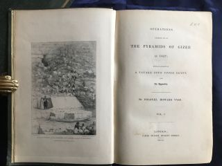 Operations carried on at the pyramids of Gizeh in 1837. With an account of a voyage in Upper Egypt and an appendix. Vol. I, II & III (complete set)[newline]M3048c-01.jpg