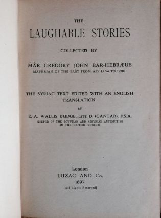 The laughable stories collected by Mâr Gregory John Bar-Hebraeus, Maphrian of the East from A.D....[newline]M3379.jpg