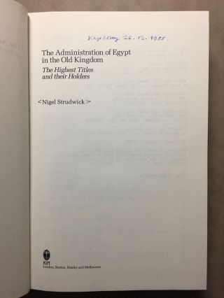 The administration of Egypt in the Old Kingdom. The highest titles and their holders.[newline]M3407a-01.jpg
