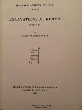 Excavations at Kerma. Parts I-III & IV-V & VI (complete set)[newline]M3408-01.jpg