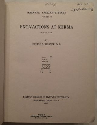 Excavations at Kerma. Parts I-III & IV-V & VI (complete set)[newline]M3408-05.jpg