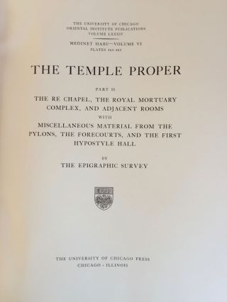 Medinet Habu. The Epigraphic survey. Vol. VI: The Temple Proper, Part II. The Re Chapel, the Royal Mortuary Complex, and adjacent rooms with miscellaneous material from the Pylons, the Forecourts, and the first Hypostyle Hall.[newline]M3529-04.jpg