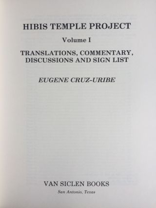 Hibis Temple project. Vol. I: Translations, commentary, discussions and sign list. Vol. II: The demotic graffiti of Gebel Teir. Vol. III: Graffiti from the temple precinct (complete set)[newline]M3787c-02.jpg