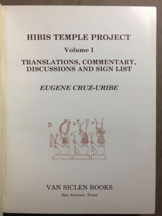 Hibis Temple project. Vol. I: Translations, commentary, discussions and sign list. Vol. II: The demotic graffiti of Gebel Teir. Vol. III: Graffiti from the temple precinct (complete set)[newline]M3787d-02.jpg