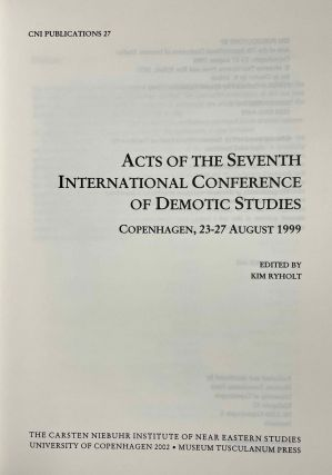 Acts of the seventh international conference of Demotic Studies. Copenhagen, 23-27 august 1999.[newline]M3822a-01.jpeg
