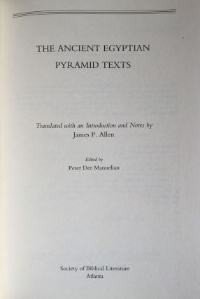 The Ancient Egyptian Pyramid Texts. Writings from the Ancient World.[newline]M4168-01.jpg