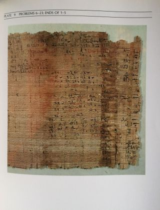 The Rhind mathematical papyrus. An ancient Egyptian text.[newline]M4364-07.jpg