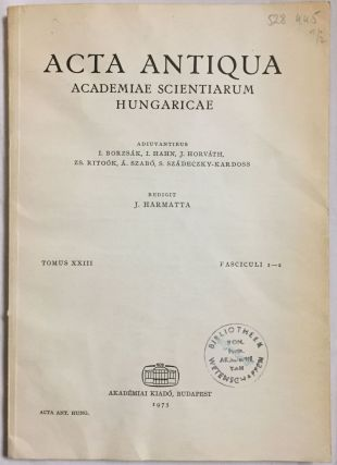 Acta Antiqua. Tomus XXIII, Fasciculi 1-2. AAE - Journal - Single issue.[newline]M4495.jpg