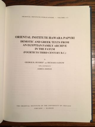 Oriental Institute Hawara Papyri: Demotic and Greek Texts from an Egyptian Family Archive in the Fayum (Fourth to Third Century B.C.)[newline]M4661-05.jpg