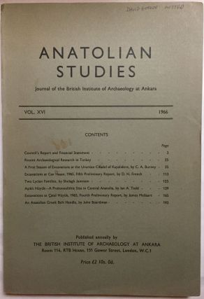 Anatolian Studies. Journal of the British Institute of Archaeology at Ankara. Volumes 16 to 21 and 24 to 27 (1964-1971 and 1974-77).[newline]M4665a-02.jpg