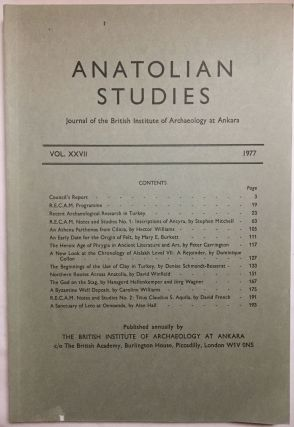 Anatolian Studies. Journal of the British Institute of Archaeology at Ankara. Volumes 16 to 21 and 24 to 27 (1964-1971 and 1974-77).[newline]M4665a-11.jpg