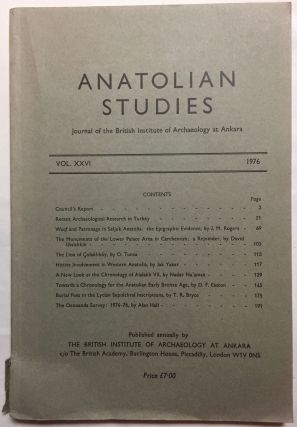 Anatolian Studies. Journal of the British Institute of Archaeology at Ankara. Volumes 26 (1976). AAE - Journal - Single issue.[newline]M4665b.jpg