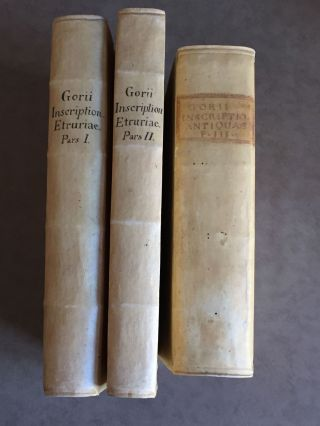 "Inscriptiones antiquae Graecae et Romanae in Etruriae urbibus (translation of title: ""Ancient Greek and Roman inscriptions in the cities of Etruria""). 3 volumes (complete set). GORI Francesco.[newline]M5122.jpg"