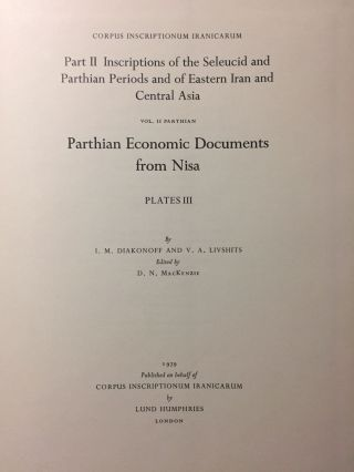 Corpus Inscriptionum Iranicarum. Part II - Inscriptions of the Seleucid and Parthian Periods and of Eastern Iran and Central Asia. Vol II: Parthian. Parthian Economic Documents from Nisa - Plates. 4 volumes (complete set)[newline]M5297-13.jpg