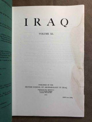 Iraq. Journal of the British School of Archaeology in Iraq. Volume XL. Parts 1-2. 1978. AAE - Journal - Single issue.[newline]M5347.jpg
