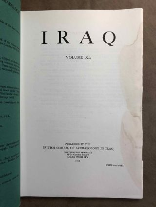 Iraq. Journal of the British School of Archaeology in Iraq. Volume XL. Parts 1-2. 1978. AAE -...[newline]M5347.jpg
