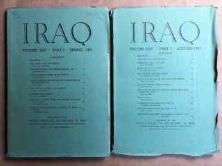 Iraq. Journal of the British School of Archaeology in Iraq. Volume XXV. Parts 1-2. 1963. AAE -...[newline]M5356.jpg