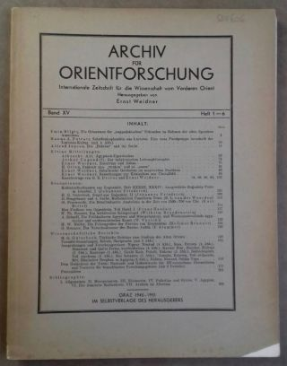 Archiv für Orientforschung. Band XV. Heft 1-6. 1945-1951. AAE - Journal - Single issue - WEIDNER...[newline]M5554.jpg