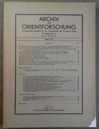 Archiv für Orientforschung. Band XXI. AAE - Journal - Single issue - WEIDNER Ernst[newline]M5556.jpg