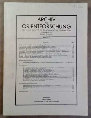 Archiv für Orientforschung. Band XXII. AAE - Journal - Single issue - WEIDNER Ernst[newline]M5557.jpg