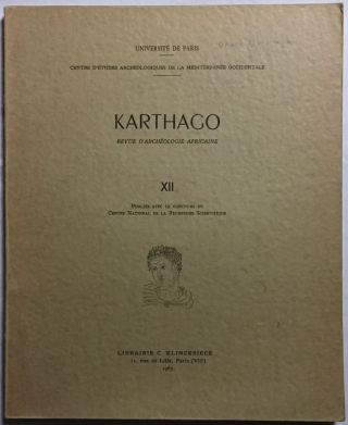 Karthago. Revue d'archéologie africaine. Tome XII. AAE - Journal - Single issue[newline]M5616.jpg