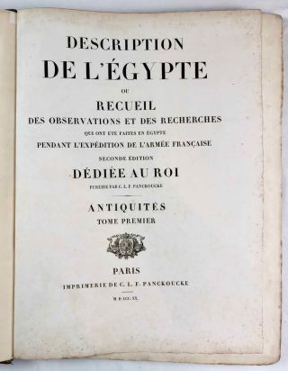 Description de l'Egypte. Ou Recueil des observations et des recherches qui ont été faites en Egypte pendant l'expédition de l'armée française. 2nd edition, complete in 26 volumes of text and 12 volumes of plates.[newline]M5946a-1008.jpg