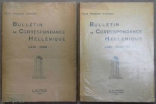 Bulletin de correspondance hellénique. Tome LXIII - 1939. Fascicules I & II (complete). AAE - Journal - Single issue.[newline]M6107.jpg