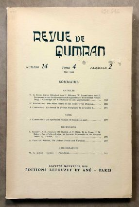 Revue de Qumran. Tome 4. Numéro 14, fasc. 2. Mai 1963. AAE - Journal - Single issue[newline]M6295.jpg