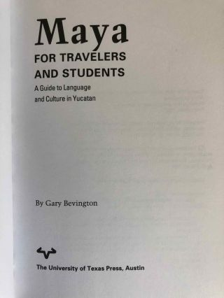 Maya for Travelers and Students. A Guide to Language and Culture in Yucatan.[newline]M6676-01.jpg