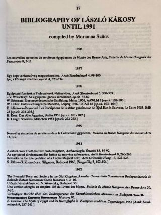 Studia Aegyptiaca XIV (1992). The Intellectual Heritage of Egypt. Studies Presented to László Kákosy on the Occasion of His 60th Birthday.[newline]M6809-09.jpg