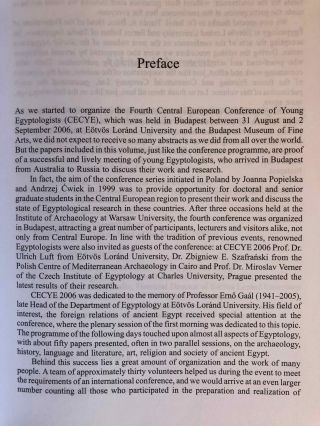Studia Aegyptiaca XVIII (2007). Proceedings of the Fourth Central European Conference of Young Egyptologists 31 August - 2 September 2006.[newline]M6811a-02.jpg