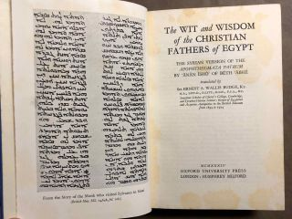 The Wit and Wisdom of the Christian Fathers of Egypt. the Syrian version of the Apophthegmata patrum.[newline]M6925-02.jpg