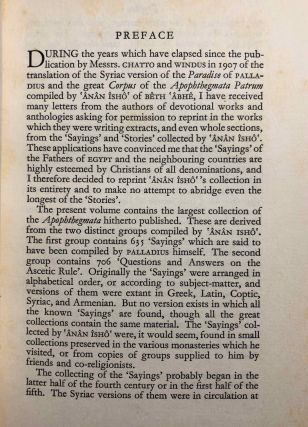 The Wit and Wisdom of the Christian Fathers of Egypt. the Syrian version of the Apophthegmata patrum.[newline]M6925-03.jpg