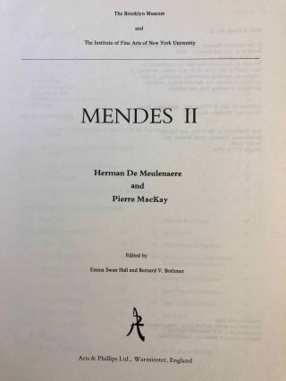Mendes I & II, with: Addenda and Errata & Additional Bibliography and Abbreviations, loosely added (complete set)[newline]M7087-20.jpg
