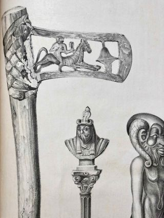 A series of highly finished engravings, by P.Q. Visconti, comprising a few of the principal objects in a collection of Egyptian antiquities, the property of Giovanni d'Athanasi, by whom the greater portion have been discovered.[newline]M7149-22.jpg