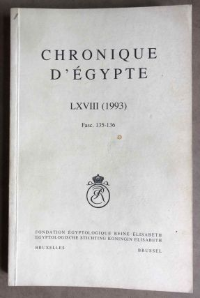 Chronique d'Egypte. Tome LXVIII (1993). Fascicles 135-136. AAE - Journal - Single issue[newline]M7198.jpg