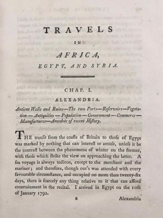 Travels in Africa, Egypt, and Syria, from the year 1792 to 1798[newline]M7223-28.jpg